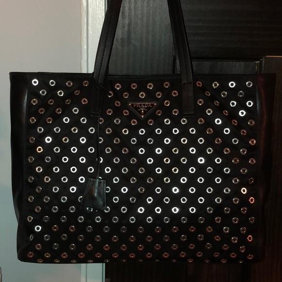 238bad735cf9 Prada Bags | Blk Grommet Leather Bagtote Brand New | Poshmark